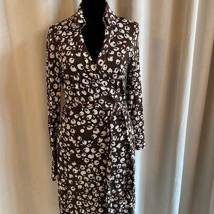Diane Von Furstenberg Brown Black White Wrap Dress